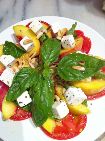 Peachy Basil,Tomato & Goat's Cheese salad | nutritiondarling.com